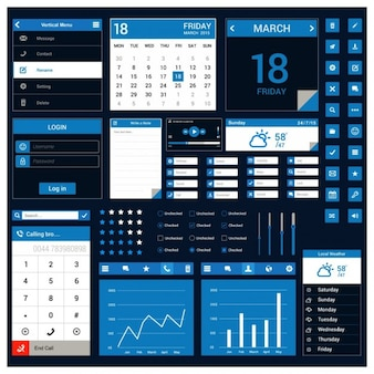 Blue template for mobile application