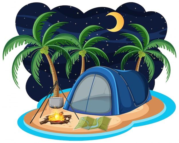 夜の島の青いテント
