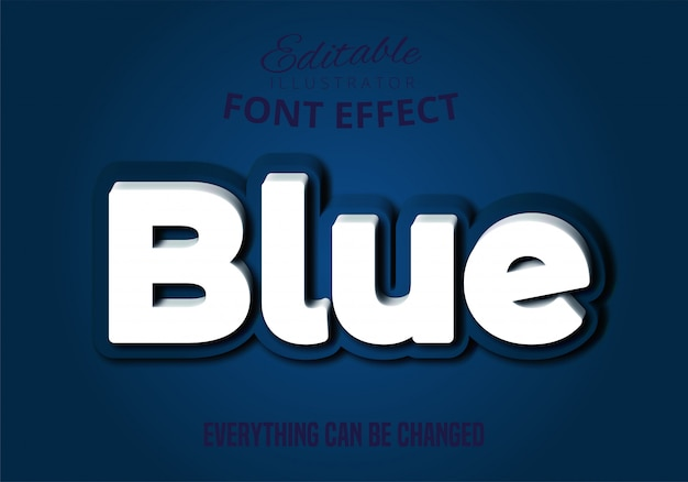Blue text, editable font effect