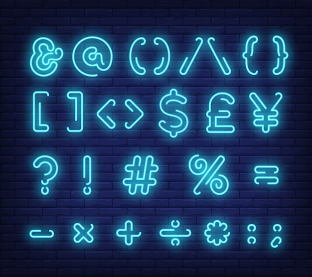 Blue text symbols neon sign