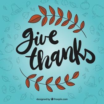 Синий дизайн с надписью благодарения