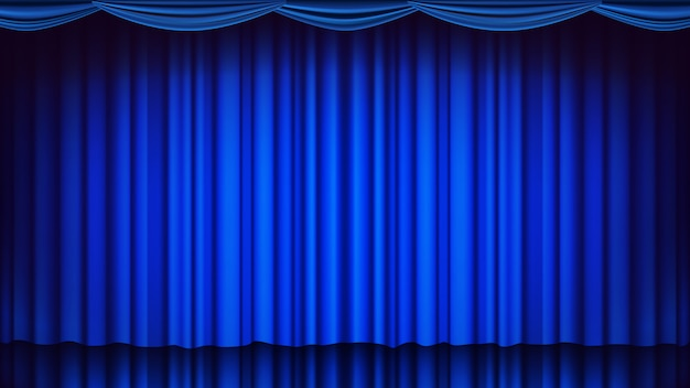 Blue theater curtain backdrop. theater, opera or cinema empty silk stage background, blue scene. realistic illustration