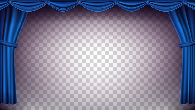 Blue theater curtain backdrop. transparent background for concert, theater. opera or cinema empty silk stage, blue scene. realistic illustration