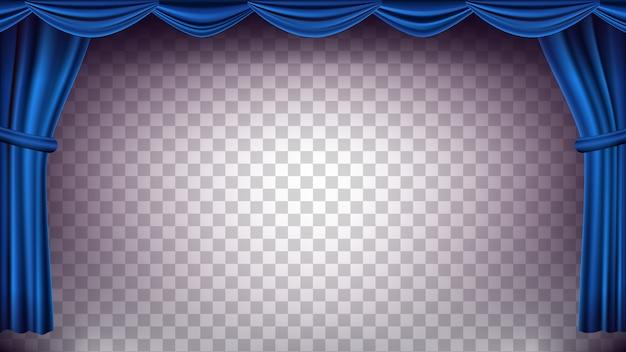 블루 극장 커튼 배경 막입니다. 콘서트, 극장에 대 한 투명 한 배경입니다. 오페라 또는 영화관 빈 실크 무대, 푸른 장면. 현실적인 그림