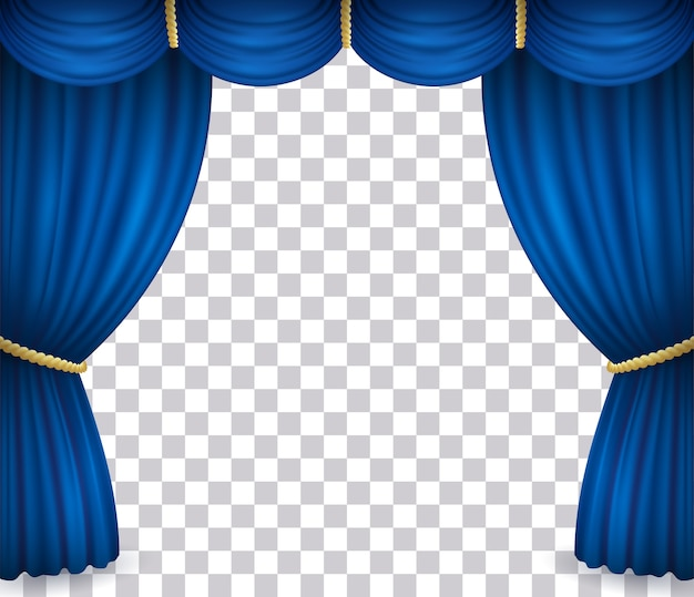 Blue theater stage curtain with drapery isolated on transparent background