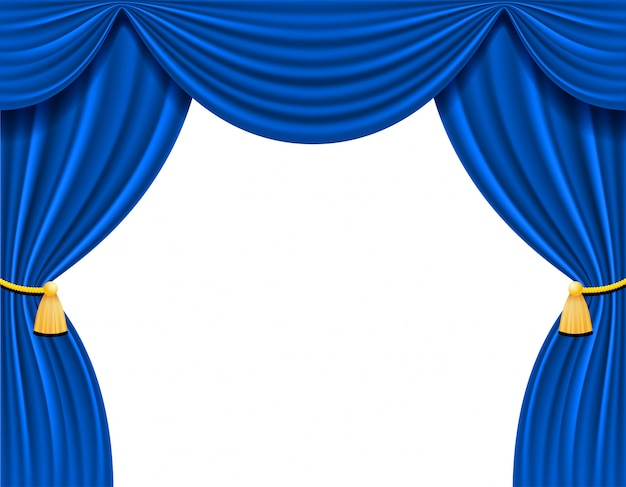 Blue theatrical curtain