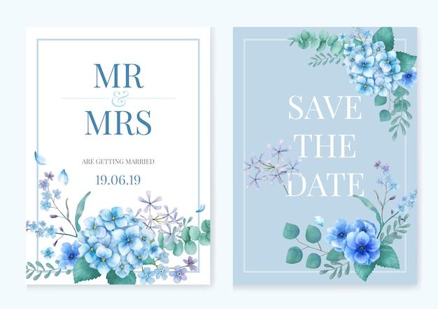 Синяя тематическая поздравительная открытка с цветочками