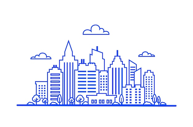 파란색 얇은 선 도시 풍경