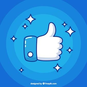 Blue thumb up background