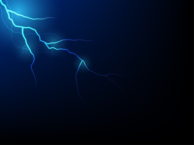 Blue thunder storm vector realistic lightnings thunderbolt on black background.