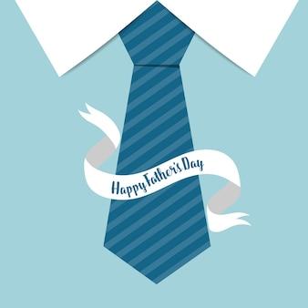 リボンの父の日の背景と青のネクタイ