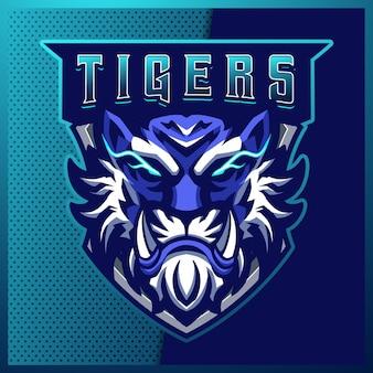 ブルータイガースのeスポーツとスポーツマスコットのロゴデザインとモダンなイラスト。怒っている虎のイラスト