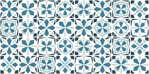青いタイルのデザイン。床のシームレスパターン