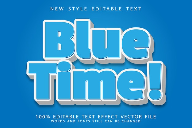 Blue time editable text effect emboss modern style