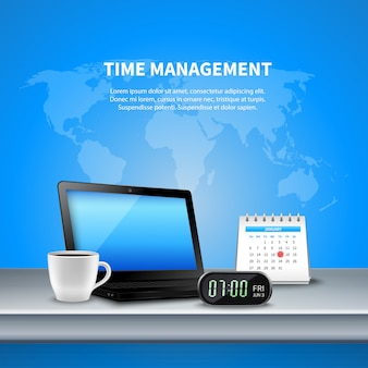 Blue time management realistic composition