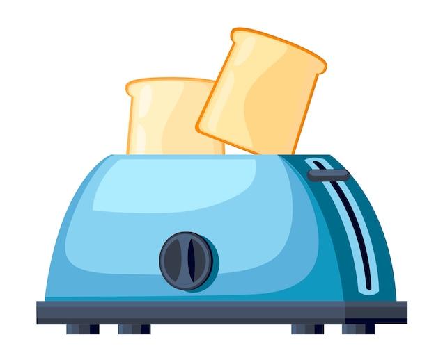 Синий тостер. стальной тостер с двумя ломтиками хлеба. . иллюстрация на белом фоне.