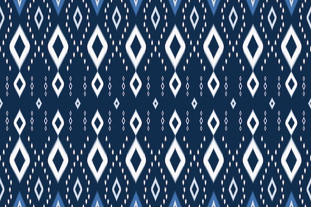 Blue tone asian ethnic geometric oriental ikat seamless knitted traditional pattern. design for background, carpet, wallpaper backdrop, clothing, wrapping, batik, fabric. embroidery