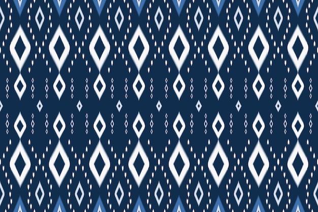 Голубые тона азиатских этнических геометрических восточных икат бесшовные трикотажные традиционные модели. дизайн для фона, ковер, фон обоев, одежда, упаковка, батик, ткань. вышивка