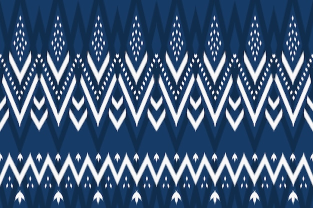 Blue tone asian ethnic geometric oriental ikat seamless traditional pattern. design for background, carpet, wallpaper backdrop, clothing, wrapping, batik, fabric. embroidery style. vector