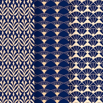 Blue tones of art deco seamless pattern