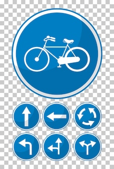 透明な背景に青い交通標識