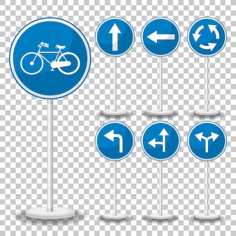 Blue traffic sign on transparent background