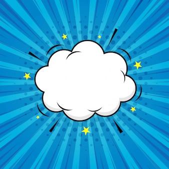 ブームコミック爆発で青い透明な背景。スピーチの泡ポップアート。テキストボックス