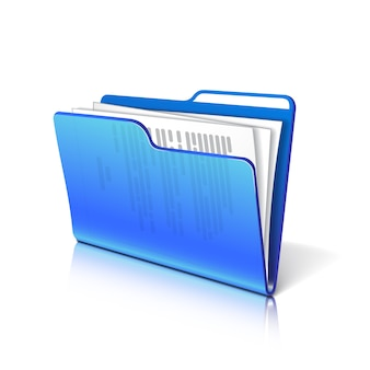 Blue transparent folder with papers. document icon.  illustration.