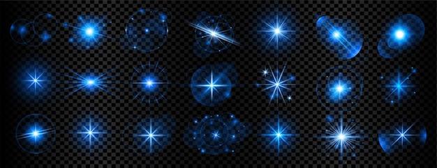 파란색 투명 빛 반짝임 및 렌즈 플레어 빅 세트