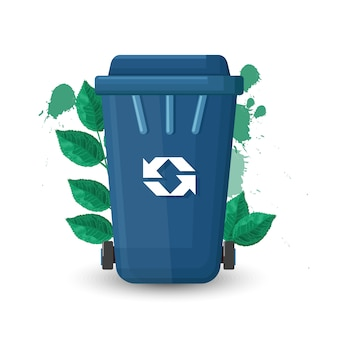 Blue trash can with lid and ecology sign. green leaves on background