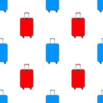 Blue travel plastic suitcase with wheels realistic pattern on white background. vector stock illustration.