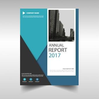 青い三角年次報告書のテンプレートデザイン