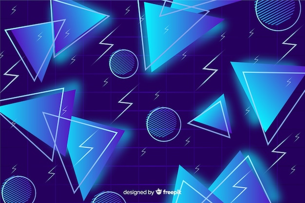 Blue triangle background 80's style