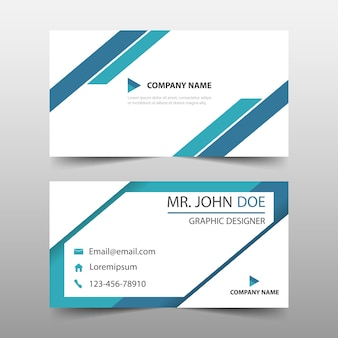 Blue triangle corporate business card template