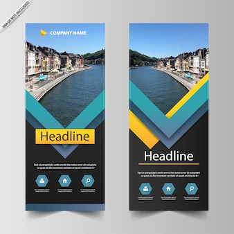 Blue triangle roll up banner template