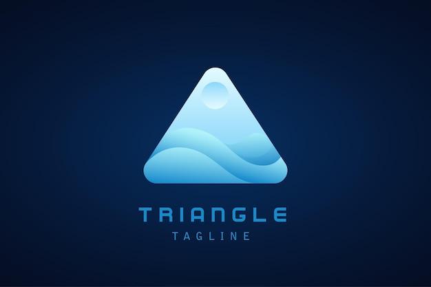 会社の青い三角波のグラデーションのロゴ