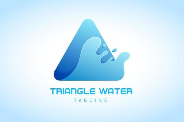 회사의 물 스플래시 그라데이션 로고가 있는 파란색 삼각형