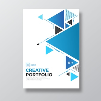 Blue triangular abstract geometry abstract portfolio cover