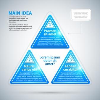 Blu infografica triangolare con struttura lucida e tre opzioni