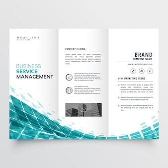 Синий шаблон trifold брошюру для вашего бизнеса
