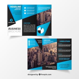 Modello blu brochure trifold