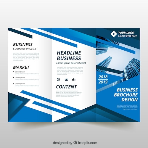 Blue trifold business flyer