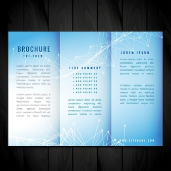 Blue trifold vector brochure design