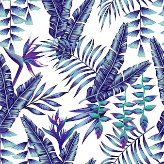 Blue tropical flowers and palm leaves seamless pattern