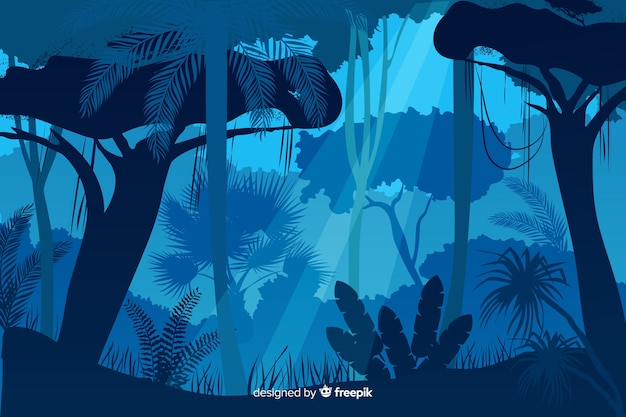Blue tropical forest landscape