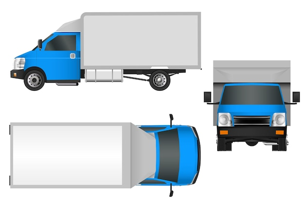 Blue truck template. cargo van vector illustration eps 10 isolated on white background. city commercial vehicle delivery