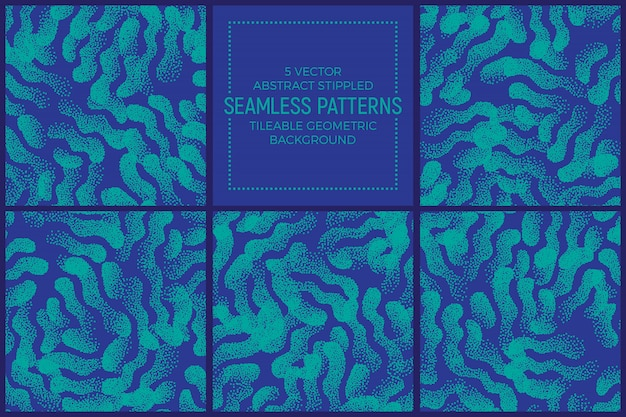 Blue and turquoise abstract stippled seamless patterns vector set