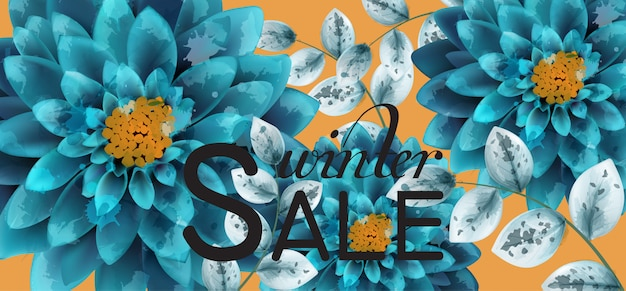 Blue turquoise watercolor flowers background