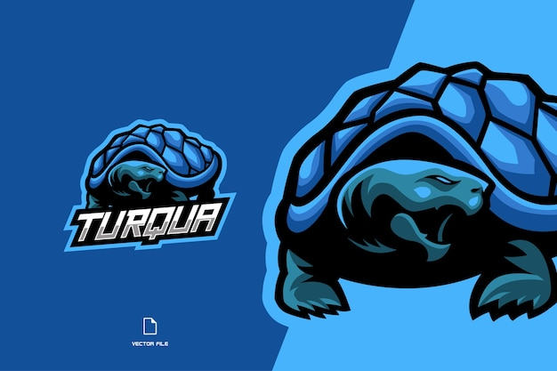 Blue turtle mascot esport game logo character illustration
