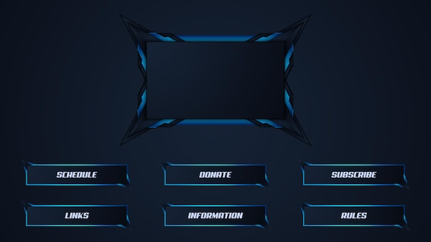 Blue twitch streamer panel overlay template